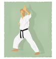 An old picture of men engaged in karate vector image vector image