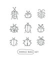 big line hand drawn doodle set - insects bugs vector image vector image