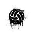 black grunge volleyball vector image vector image