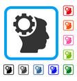 brain gear framed icon vector image vector image