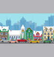 busy city life at winter with road and cars in a vector image