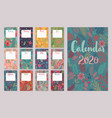 calendar 2020 monthly calendar with floral vector image