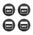 Calendar September November October December vector image vector image