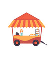 cart with burgers and female seller street fast vector image vector image