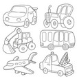 cartoon transport coloring book vector image