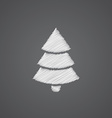 Christmas tree sketch logo doodle icon vector image