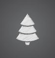 Christmas tree sketch logo doodle icon vector image vector image