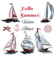 collection of elements on theme of sea vector image vector image