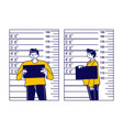 Criminal male character stand on measuring scale