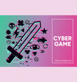 cyber sword video game emblem with glitch vector image vector image