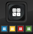 Dices icon symbol Set of five colorful stylish vector image