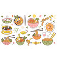 doodle ramen noodles traditional asian food bowls vector image vector image