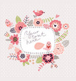 floral background wreath frame with cute birds vector image vector image