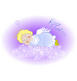 funny stylized decorative sleeping angel in the vector image