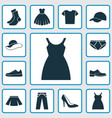 garment icons set collection of heel footwear vector image