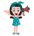 girl with megaphone on white background vector image vector image
