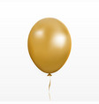 gold balloon party baloon with ribbon and vector image