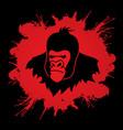 gorilla head king kong face angry big monkey vector image vector image