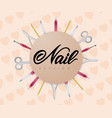 hand lettering nail service with nail tools on vector image vector image