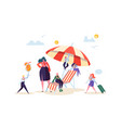 happy business characters relaxing on beach vector image vector image