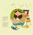 happy daughter makes a hairdo for dad vector image vector image