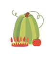 happy thanksgiving day green pumpkin apple and vector image vector image