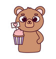 happy valentines day cute bear with sweet cupcake vector image vector image