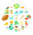 heliacal icons set cartoon style vector image vector image