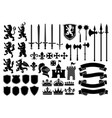 heraldry silhouette mega set vector image vector image