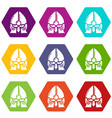 historical knight helmet icons set 9 vector image