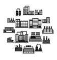 industrial building icons set simple style vector image