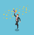 isometric businessman holding magnet to vector image vector image