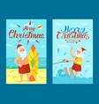 merry christmas santa claus surfing board xmas vector image vector image
