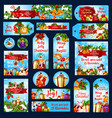 merry christmas wish greeting banners tags vector image vector image