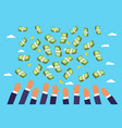 money is falling from the sky vector image vector image