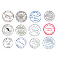 postage service mail post delivery ink stamps vector image vector image