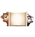 postcard design template cute bear and cat vector image