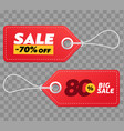realistic discount red tags isolated on checkered vector image
