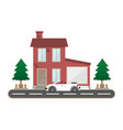 residential brick house with garage and car vector image vector image