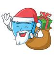santa with gift tea cup mascot cartoon vector image vector image