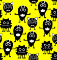 Seamless Pattern White and Black Monsters on vector image vector image