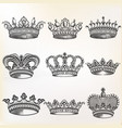 set hand drawn detailed crowns for design vector image vector image