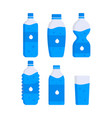 set of water plastic bottles clean drink vector image vector image