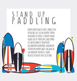 stand up paddle boards and paddles set i vector image vector image