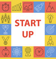 start up outline icons set vector image vector image