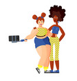 two girlfriends slender african-american and vector image vector image