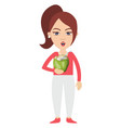 woman eating on white background vector image vector image