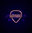 neon music shop sign glowing guitar shop emblem vector image