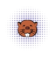 Head of beaver icon comics style vector image