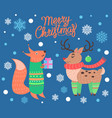 merry christmas cute poster on vector image